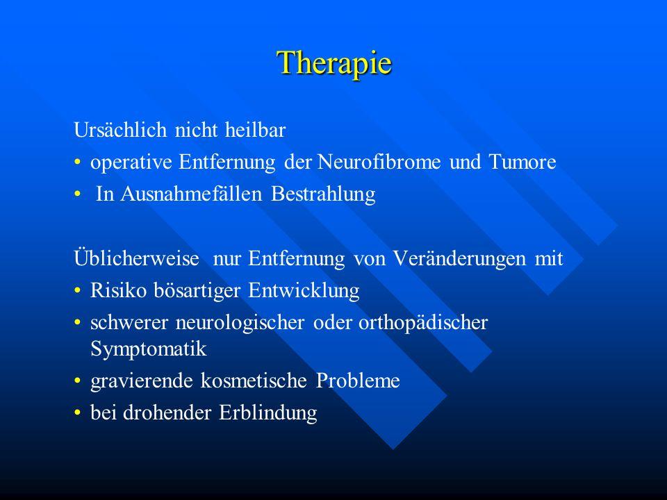 Therapie Ursächlich nicht heilbar operative Entfernung der Neurofibrome und Tumore In Ausnahmefällen Bestrahlung Üblicherweise nur Entfernung von Verä