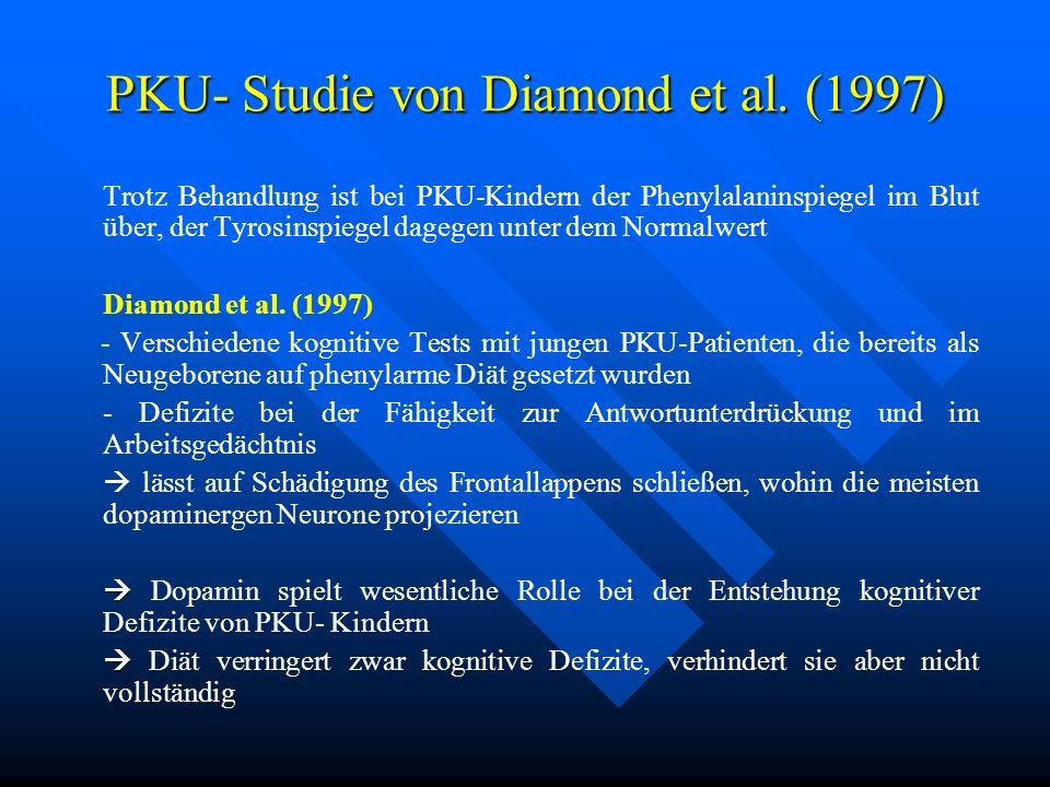 PKU- Studie von Diamond et al. (1997) Trotz Behandlung ist bei PKU-Kindern der Phenylalaninspiegel im Blut über, der Tyrosinspiegel dagegen unter dem