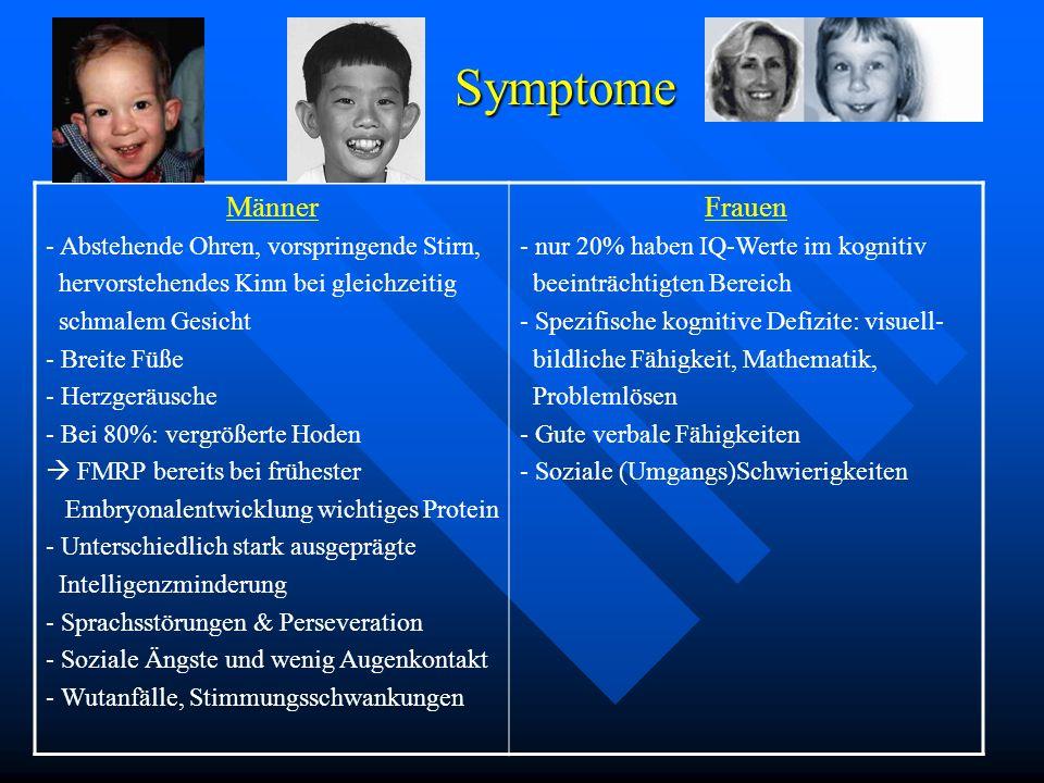 Symptome Symptome Männer - Abstehende Ohren, vorspringende Stirn, hervorstehendes Kinn bei gleichzeitig schmalem Gesicht - Breite Füße - Herzgeräusche