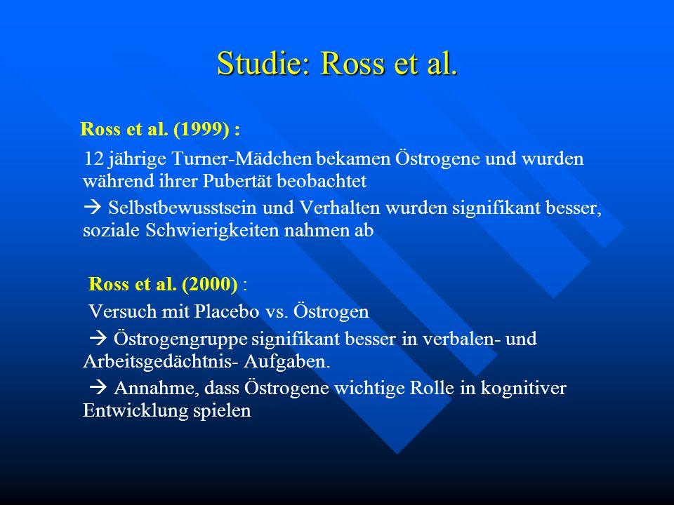 Studie: Ross et al. Ross et al. (1999) : 12 jährige Turner-Mädchen bekamen Östrogene und wurden während ihrer Pubertät beobachtet Selbstbewusstsein un