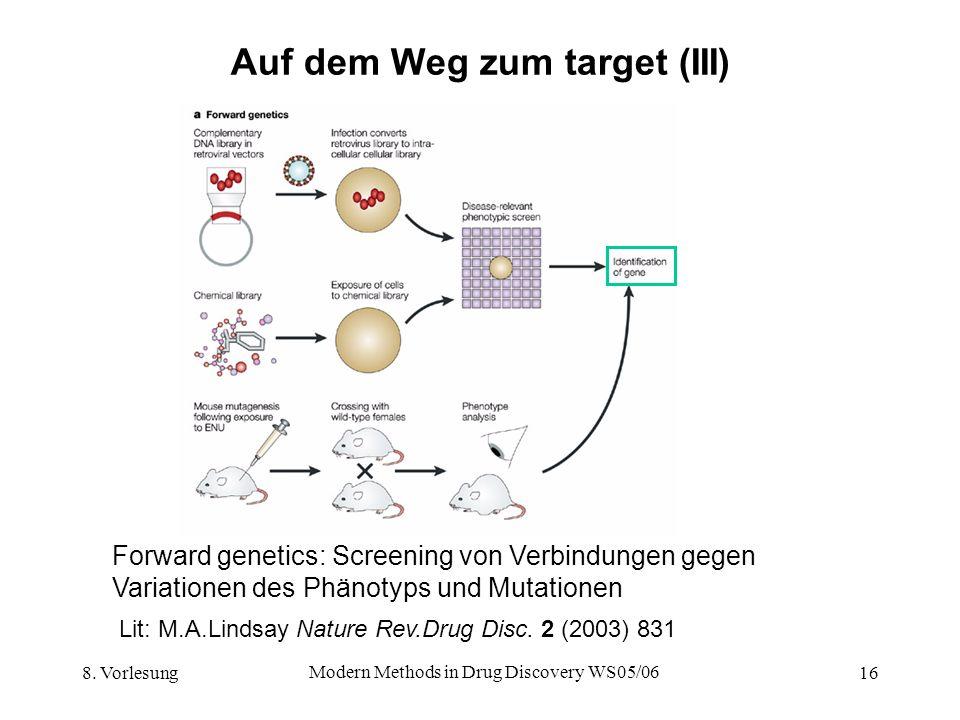 8. Vorlesung Modern Methods in Drug Discovery WS05/06 16 Auf dem Weg zum target (III) Forward genetics: Screening von Verbindungen gegen Variationen d