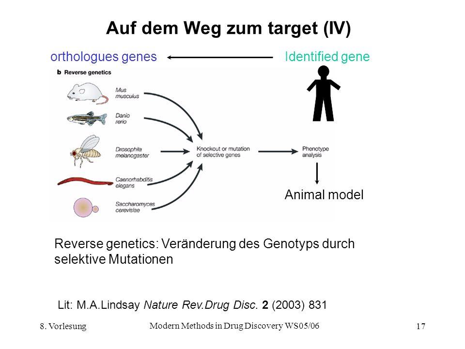8. Vorlesung Modern Methods in Drug Discovery WS05/06 17 Auf dem Weg zum target (IV) Reverse genetics: Veränderung des Genotyps durch selektive Mutati