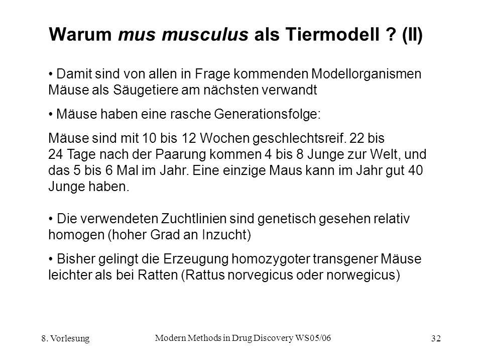 8. Vorlesung Modern Methods in Drug Discovery WS05/06 32 Warum mus musculus als Tiermodell ? (II) Damit sind von allen in Frage kommenden Modellorgani