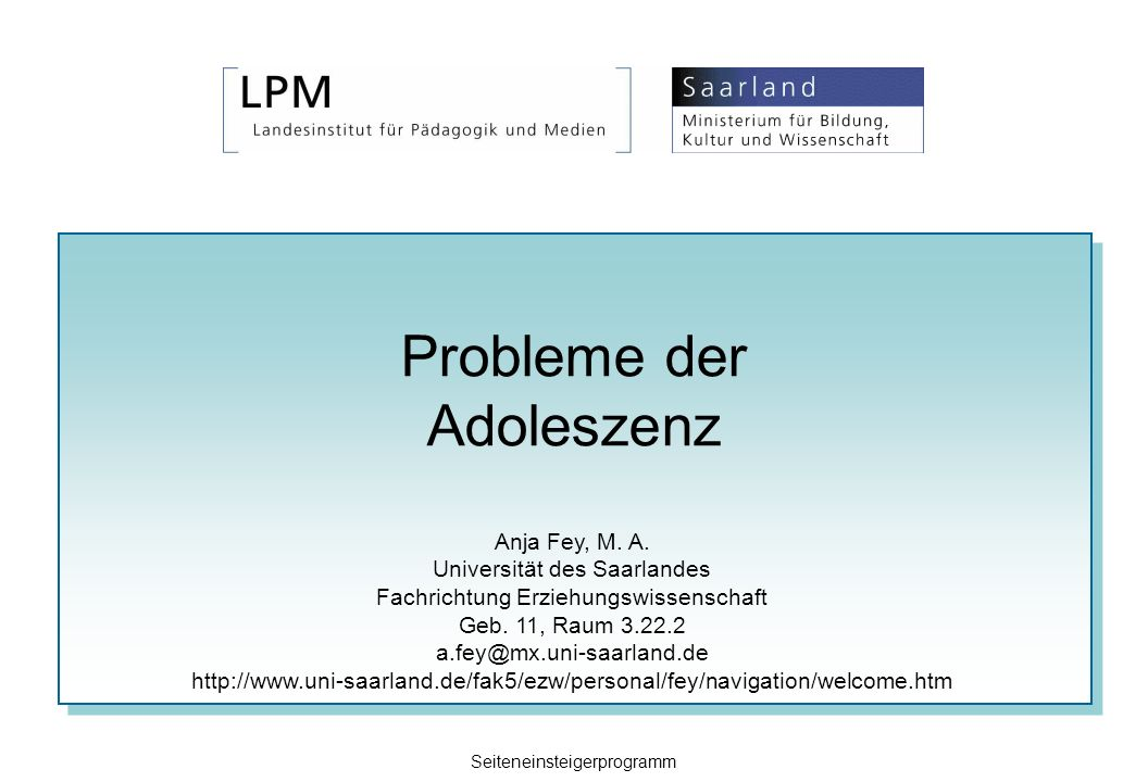 Probleme der Adoleszenz Anja Fey, M. A. Universität des Saarlandes Fachrichtung Erziehungswissenschaft Geb. 11, Raum 3.22.2 a.fey@mx.uni-saarland.de h