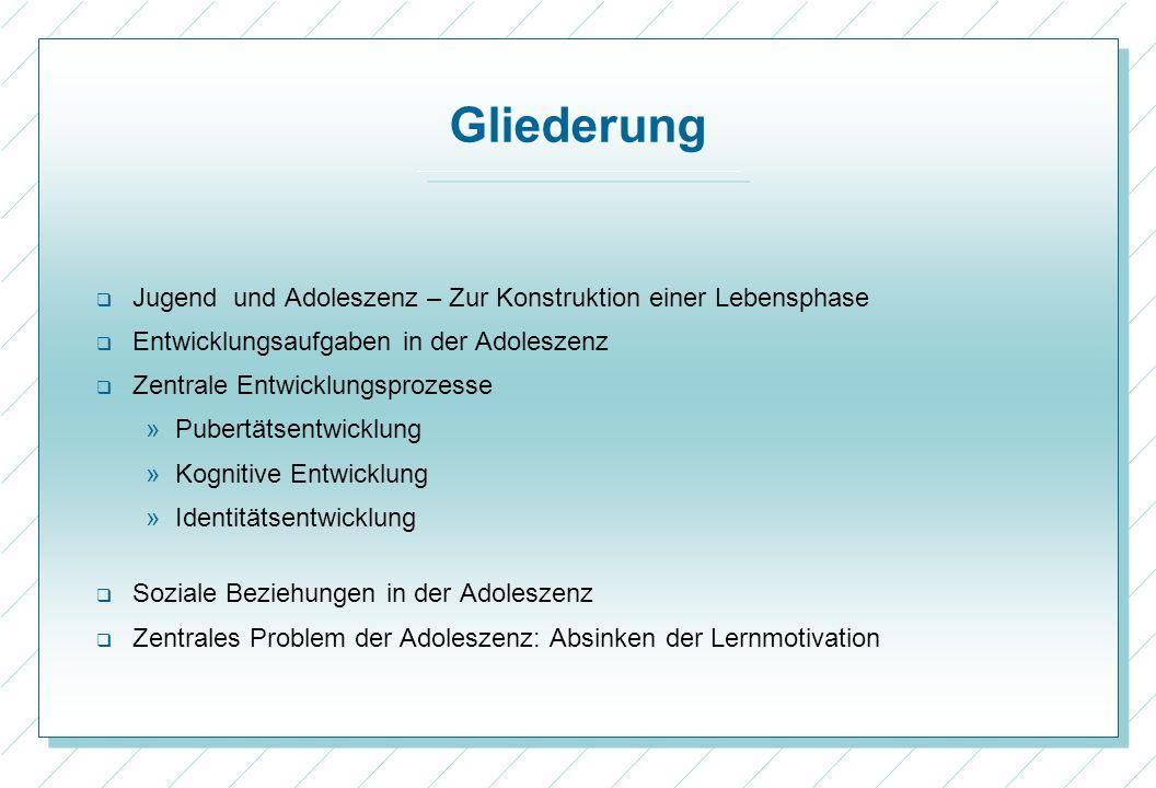 33 Verlauf des Interesses an Deutsch und Englisch in der 7 Jahrgangsstufe (Köller) Konstruktion einer Lebensphase Entwicklungs- aufgaben Zentrale Entwicklungs- prozesse -Pubertäts- entwicklung - Kognitive Entwicklung -Identitäts- entwickung Soziale Beziehungen Verlust der Lernmotivation