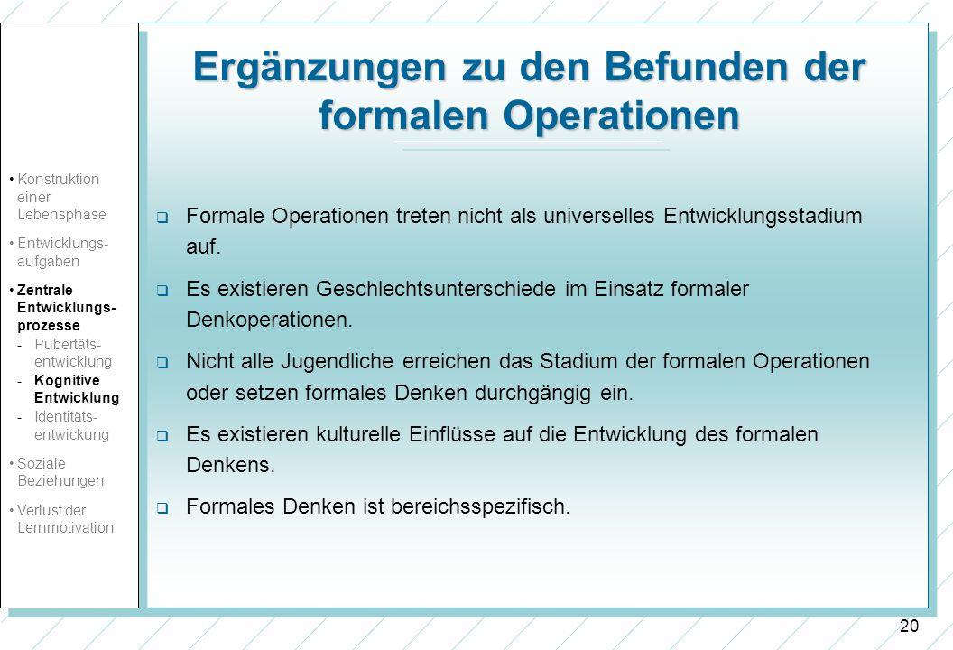20 Ergänzungen zu den Befunden der formalen Operationen Formale Operationen treten nicht als universelles Entwicklungsstadium auf. Es existieren Gesch