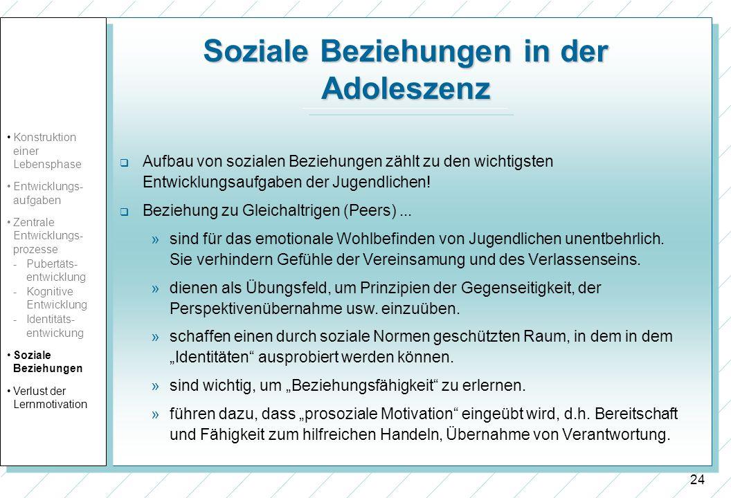 24 Soziale Beziehungen in der Adoleszenz Aufbau von sozialen Beziehungen zählt zu den wichtigsten Entwicklungsaufgaben der Jugendlichen! Beziehung zu