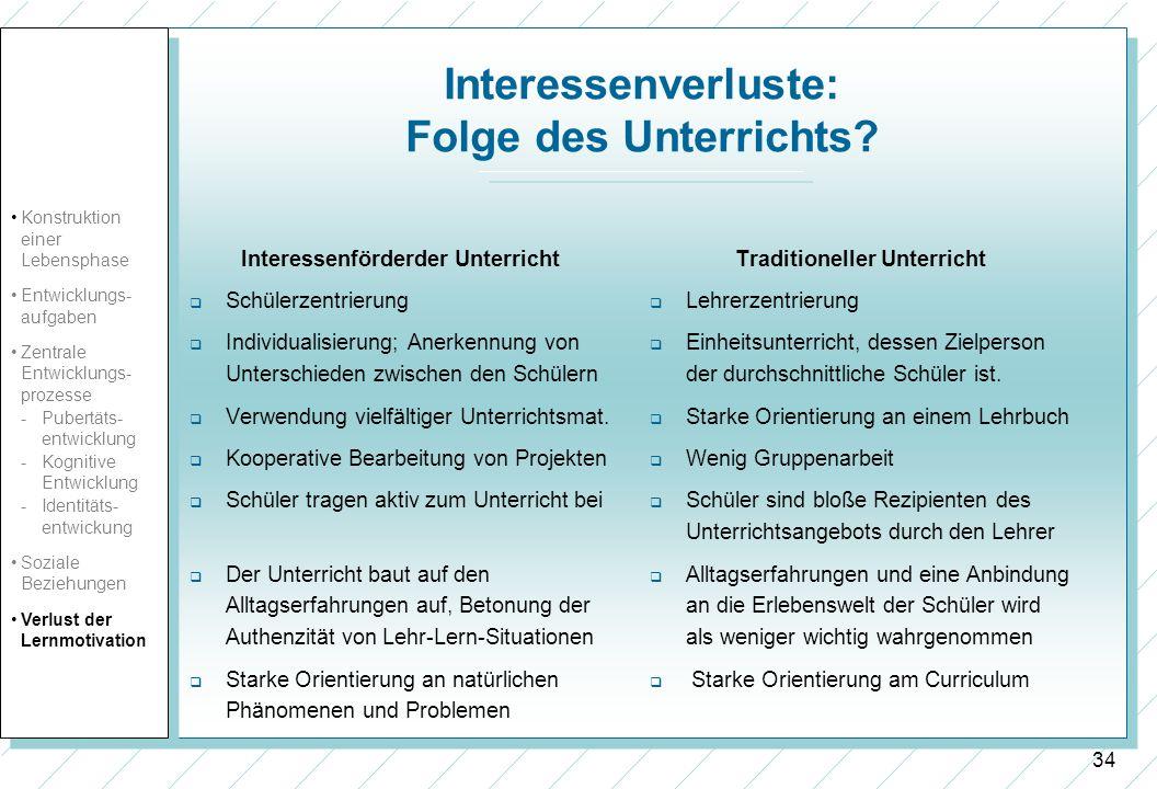 34 Interessenverluste: Folge des Unterrichts? Interessenförderder Unterricht Schülerzentrierung Individualisierung; Anerkennung von Unterschieden zwis