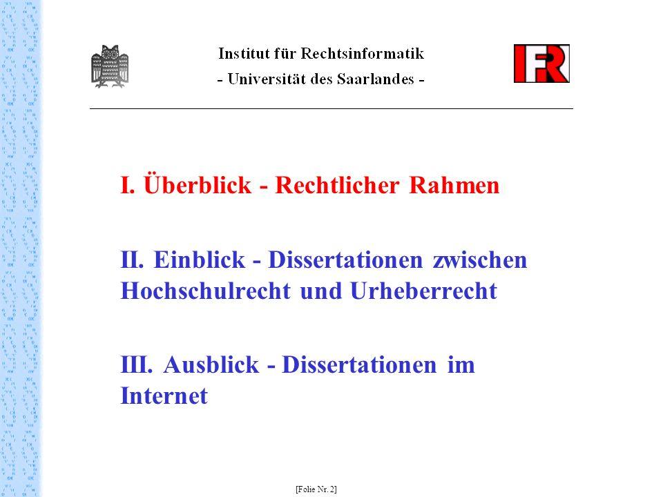 I.Überblick - Rechtlicher Rahmen II.