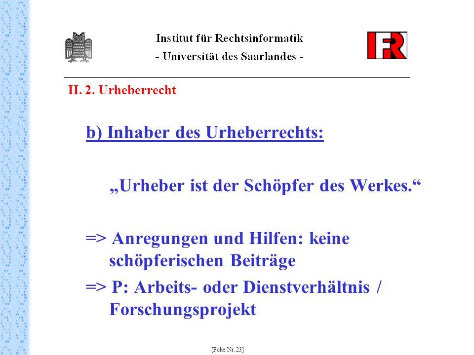 II.2. Urheberrecht b) Inhaber des Urheberrechts: Urheber ist der Schöpfer des Werkes.