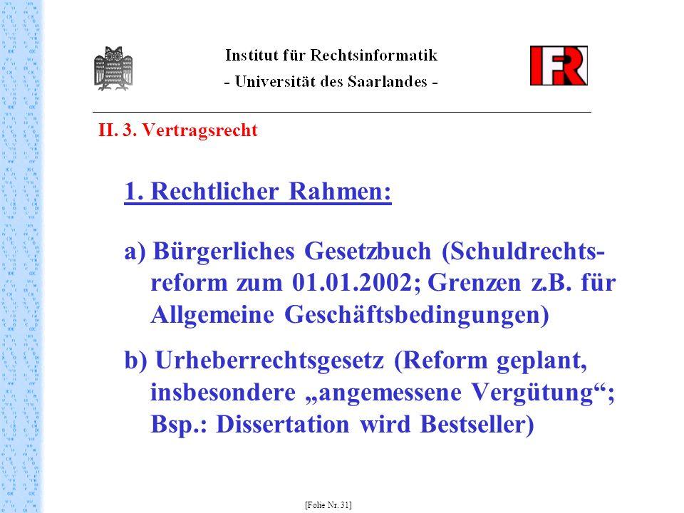 II. 3. Vertragsrecht 1. Rechtlicher Rahmen: a) Bürgerliches Gesetzbuch (Schuldrechts- reform zum 01.01.2002; Grenzen z.B. für Allgemeine Geschäftsbedi