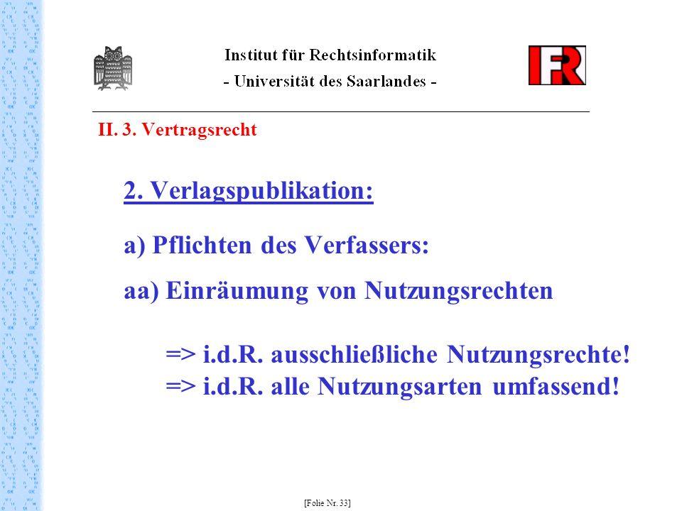 II. 3. Vertragsrecht 2. Verlagspublikation: a) Pflichten des Verfassers: aa) Einräumung von Nutzungsrechten => i.d.R. ausschließliche Nutzungsrechte!