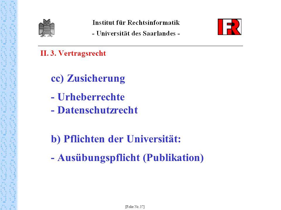 II. 3. Vertragsrecht cc) Zusicherung - Urheberrechte - Datenschutzrecht b) Pflichten der Universität: - Ausübungspflicht (Publikation) [Folie Nr. 37]
