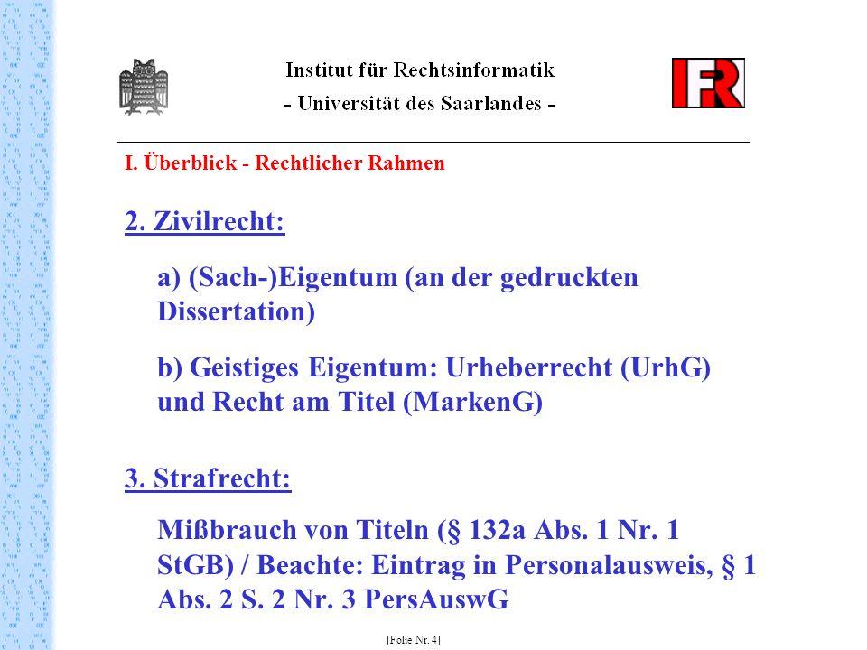 I. Überblick - Rechtlicher Rahmen 2. Zivilrecht: a) (Sach-)Eigentum (an der gedruckten Dissertation) b) Geistiges Eigentum: Urheberrecht (UrhG) und Re