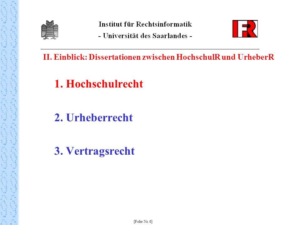 II. Einblick: Dissertationen zwischen HochschulR und UrheberR 1. Hochschulrecht 2. Urheberrecht 3. Vertragsrecht [Folie Nr. 6]