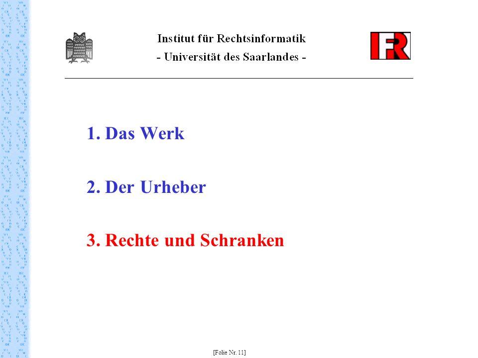 1. Das Werk 2. Der Urheber 3. Rechte und Schranken [Folie Nr. 11]