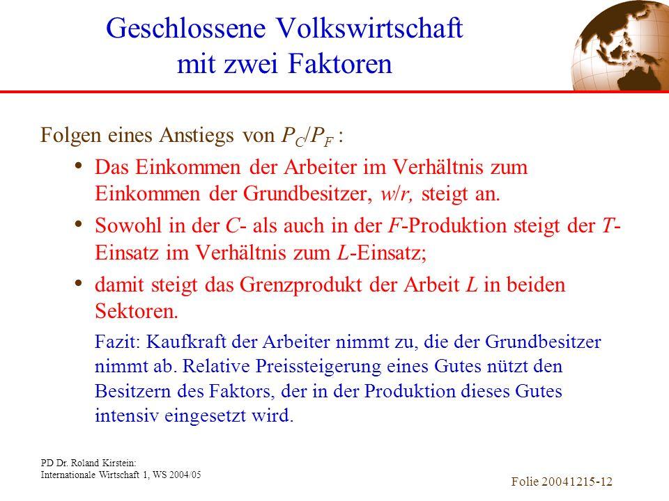 PD Dr. Roland Kirstein: Internationale Wirtschaft 1, WS 2004/05 Folie 20041215-12 Folgen eines Anstiegs von P C /P F : Das Einkommen der Arbeiter im V