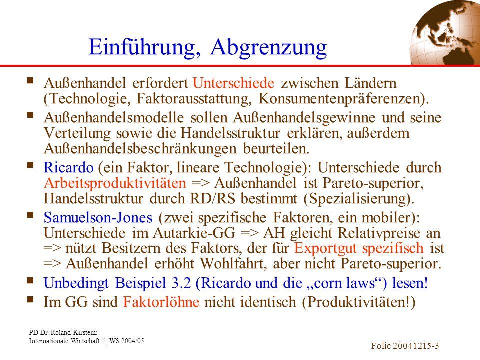 PD Dr. Roland Kirstein: Internationale Wirtschaft 1, WS 2004/05 Folie 20041215-3 Außenhandel erfordert Unterschiede zwischen Ländern (Technologie, Fak