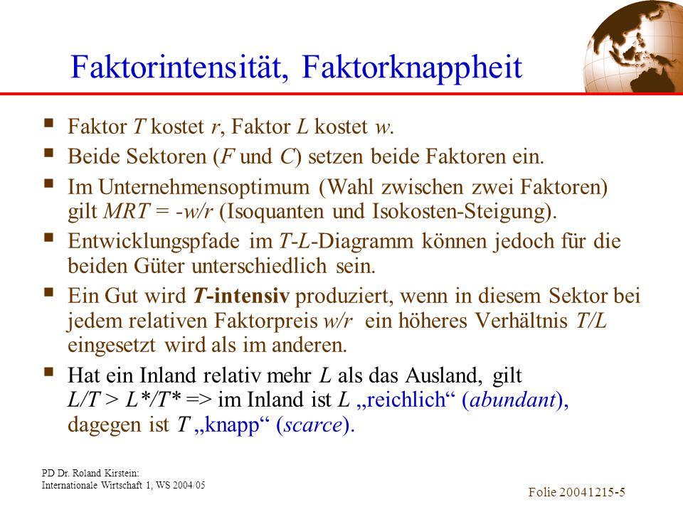 PD Dr. Roland Kirstein: Internationale Wirtschaft 1, WS 2004/05 Folie 20041215-5 Faktorintensität, Faktorknappheit Faktor T kostet r, Faktor L kostet