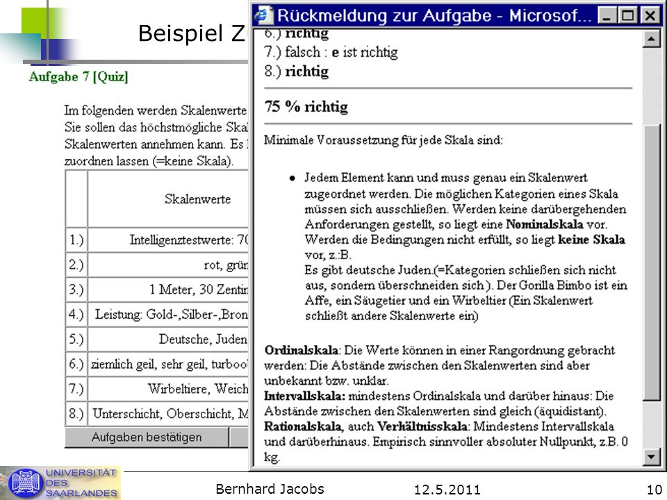 12.5.2011 Bernhard Jacobs 10 Beispiel Zuordnungsaufgabe /Skala