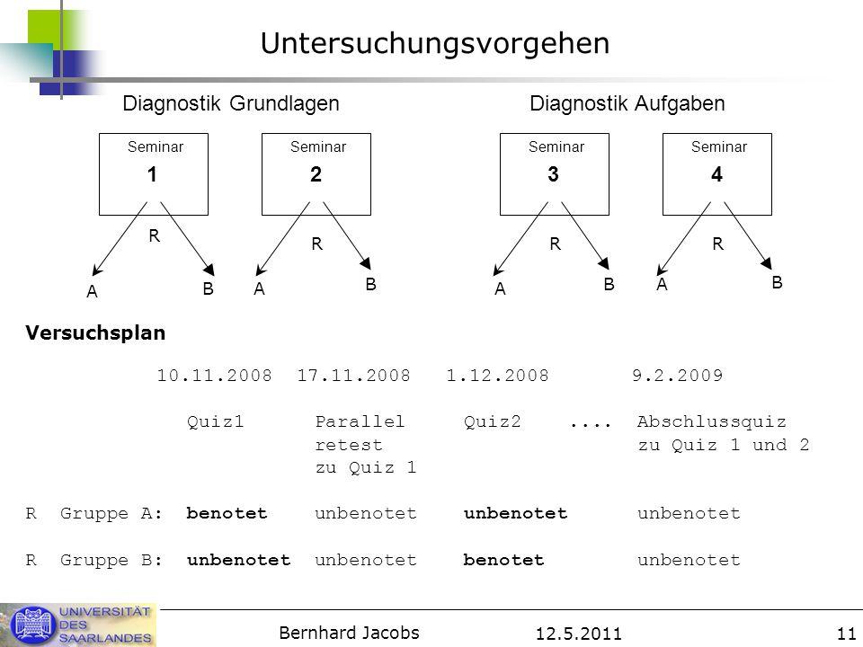 12.5.2011 Bernhard Jacobs 11 Untersuchungsvorgehen 1234 Diagnostik GrundlagenDiagnostik Aufgaben A A AAB B BB R RRR Versuchsplan 10.11.2008 17.11.2008 1.12.2008 9.2.2009 Quiz1 Parallel Quiz2....