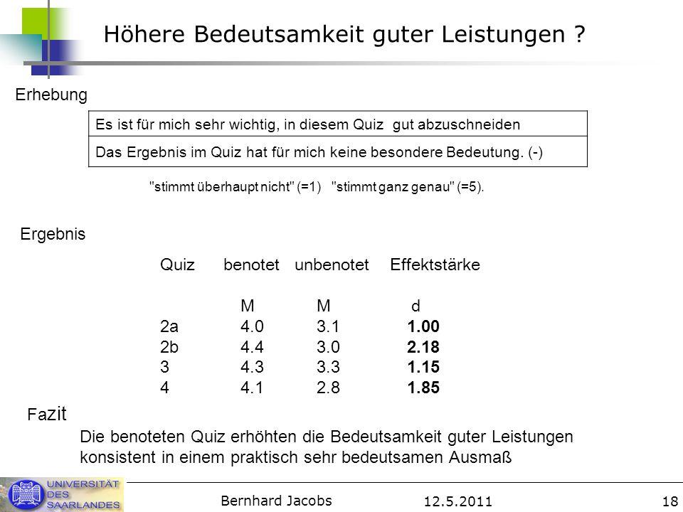 12.5.2011 Bernhard Jacobs 18 Höhere Bedeutsamkeit guter Leistungen ? Es ist für mich sehr wichtig, in diesem Quiz gut abzuschneiden Das Ergebnis im Qu