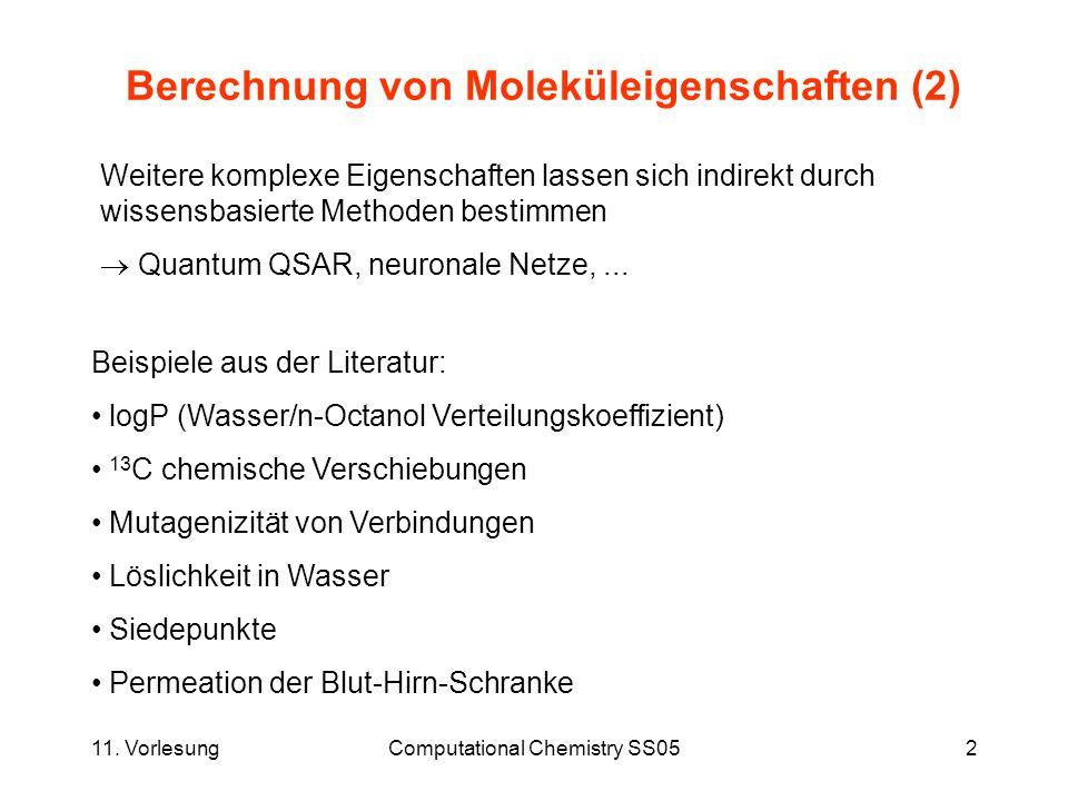 11. VorlesungComputational Chemistry SS052 Berechnung von Moleküleigenschaften (2) Weitere komplexe Eigenschaften lassen sich indirekt durch wissensba