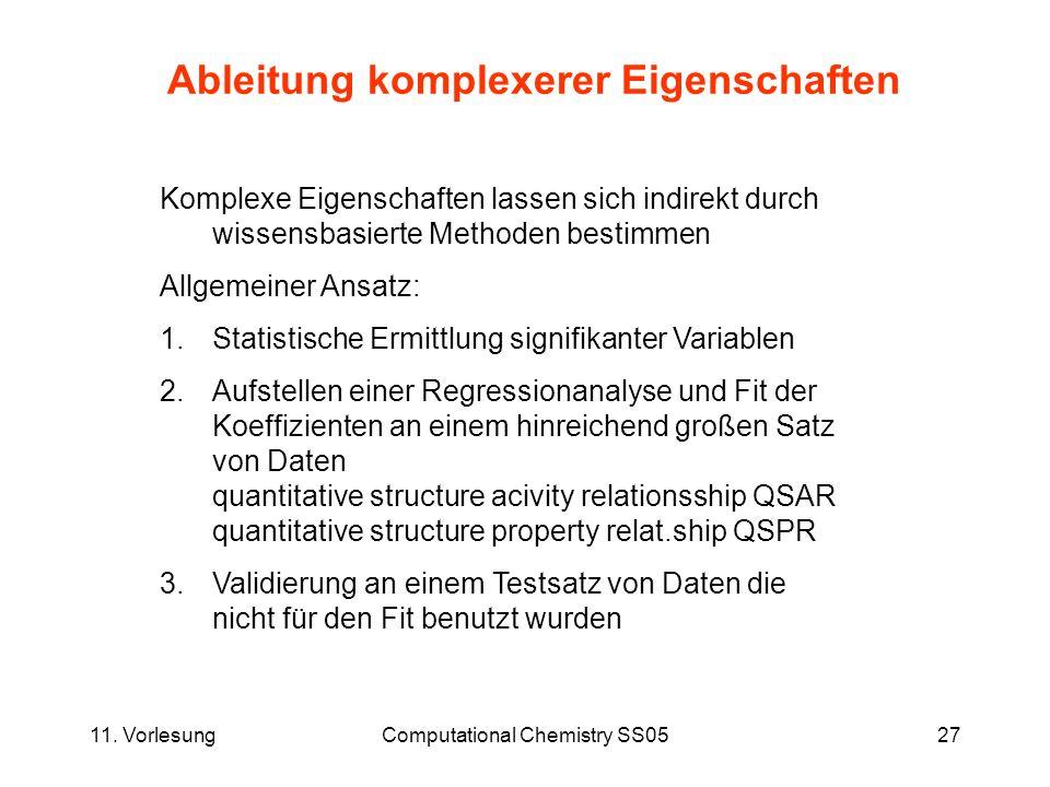 11. VorlesungComputational Chemistry SS0527 Ableitung komplexerer Eigenschaften Komplexe Eigenschaften lassen sich indirekt durch wissensbasierte Meth