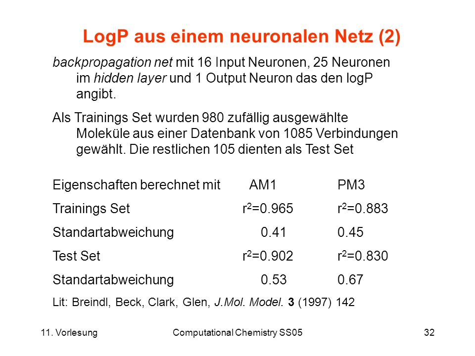 11. VorlesungComputational Chemistry SS0532 LogP aus einem neuronalen Netz (2) backpropagation net mit 16 Input Neuronen, 25 Neuronen im hidden layer