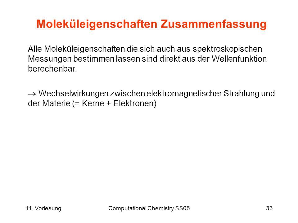 11. VorlesungComputational Chemistry SS0533 Moleküleigenschaften Zusammenfassung Alle Moleküleigenschaften die sich auch aus spektroskopischen Messung