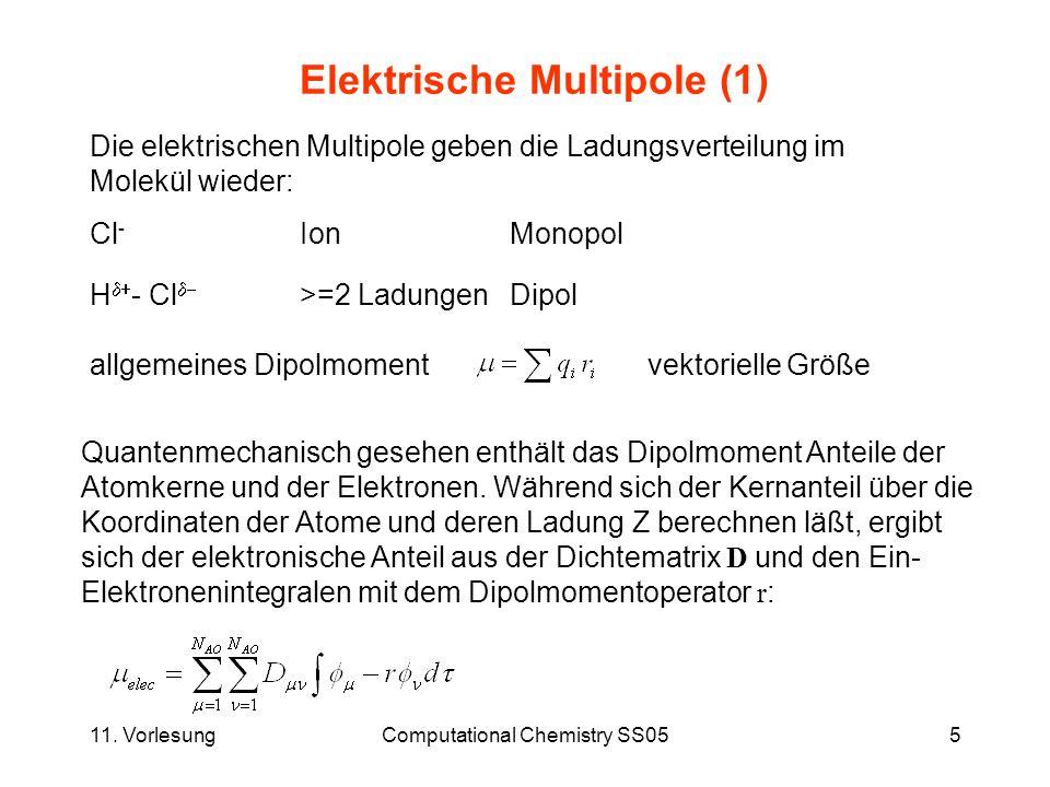 11. VorlesungComputational Chemistry SS055 Elektrische Multipole (1) Die elektrischen Multipole geben die Ladungsverteilung im Molekül wieder: Cl - Io