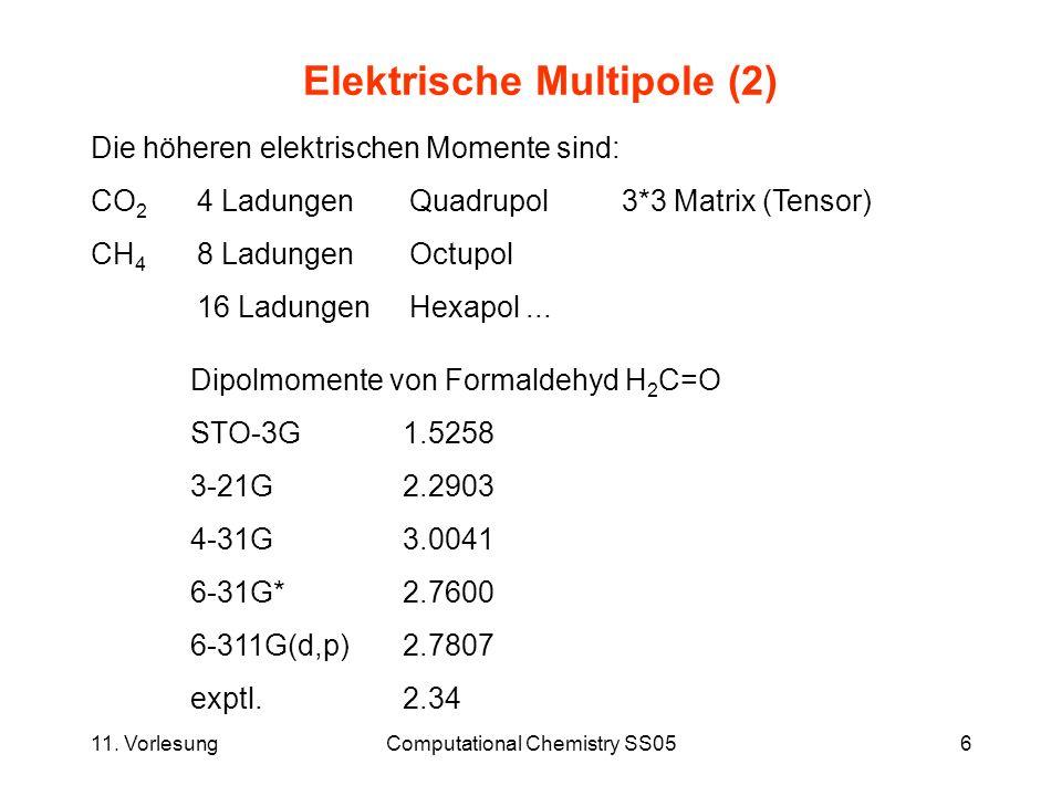 11. VorlesungComputational Chemistry SS056 Elektrische Multipole (2) Die höheren elektrischen Momente sind: CO 2 4 LadungenQuadrupol3*3 Matrix (Tensor