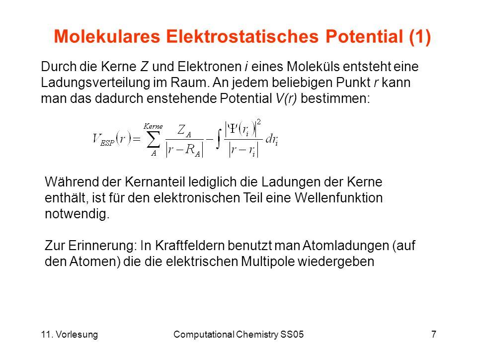 11. VorlesungComputational Chemistry SS057 Molekulares Elektrostatisches Potential (1) Durch die Kerne Z und Elektronen i eines Moleküls entsteht eine