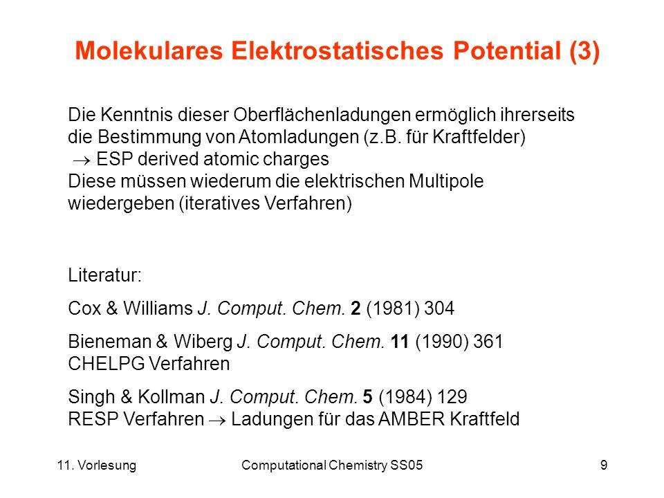 11. VorlesungComputational Chemistry SS059 Molekulares Elektrostatisches Potential (3) Die Kenntnis dieser Oberflächenladungen ermöglich ihrerseits di