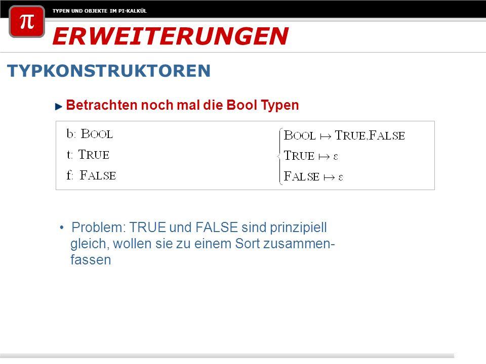 TYPEN UND OBJEKTE IM PI-KALKÜL ERWEITERUNGEN TYPKONSTRUKTOREN Problem: TRUE und FALSE sind prinzipiell gleich, wollen sie zu einem Sort zusammen- fass