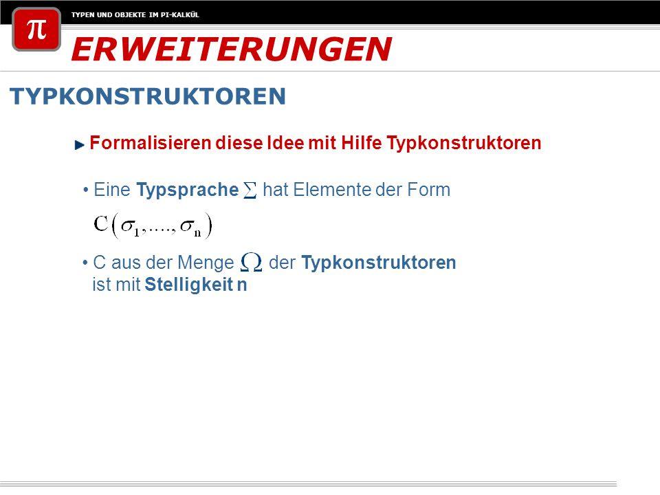 TYPEN UND OBJEKTE IM PI-KALKÜL ERWEITERUNGEN TYPKONSTRUKTOREN Formalisieren diese Idee mit Hilfe Typkonstruktoren Eine Typsprache hat Elemente der For