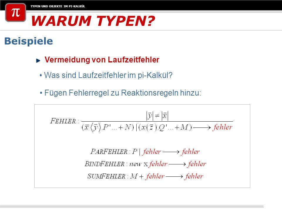 TYPEN UND OBJEKTE IM PI-KALKÜL Beispiel: Mautsystem Beispiel für Definitionen EINFÜHRUNG VON TYPEN