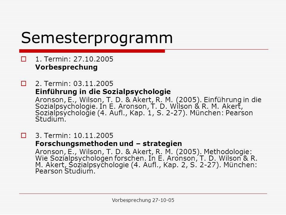 Vorbesprechung 27-10-05 Semesterprogramm 1.Termin: 27.10.2005 Vorbesprechung 2.