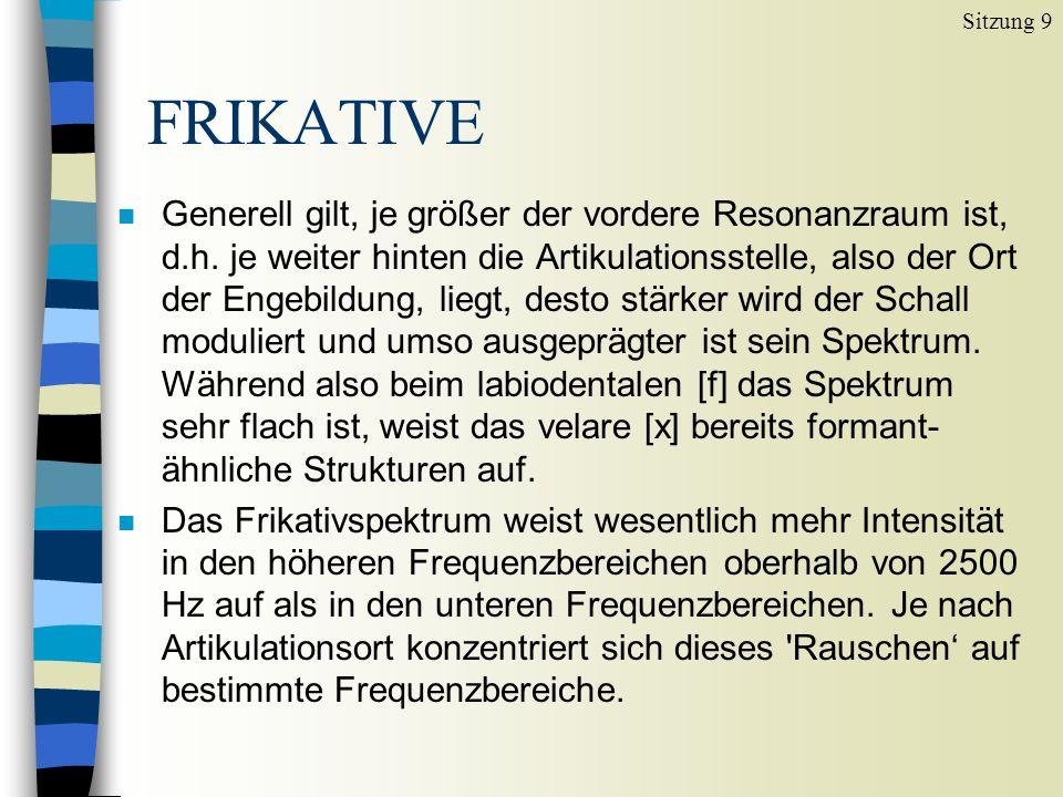 FRIKATIVE Sitzung 9 n Generell gilt, je größer der vordere Resonanzraum ist, d.h.