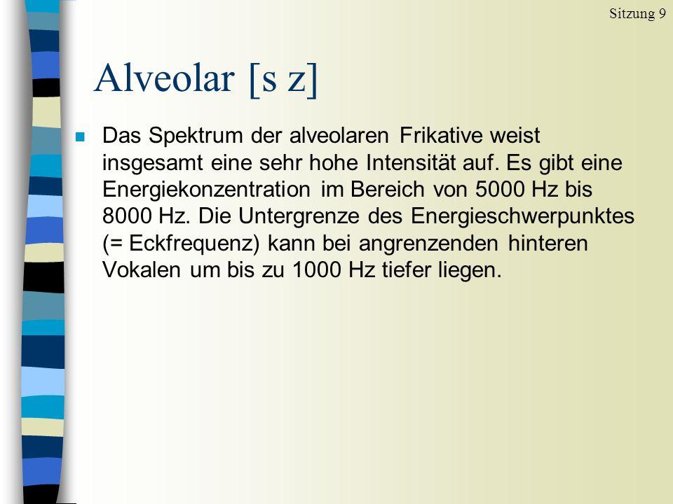 n Das Spektrum der alveolaren Frikative weist insgesamt eine sehr hohe Intensität auf.