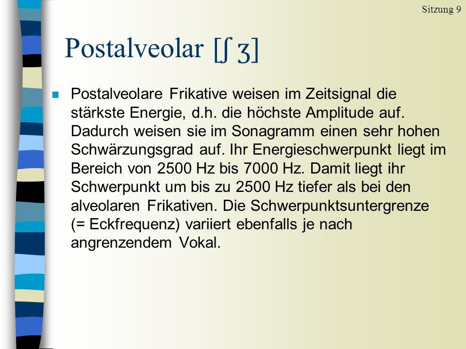 n Postalveolare Frikative weisen im Zeitsignal die stärkste Energie, d.h.