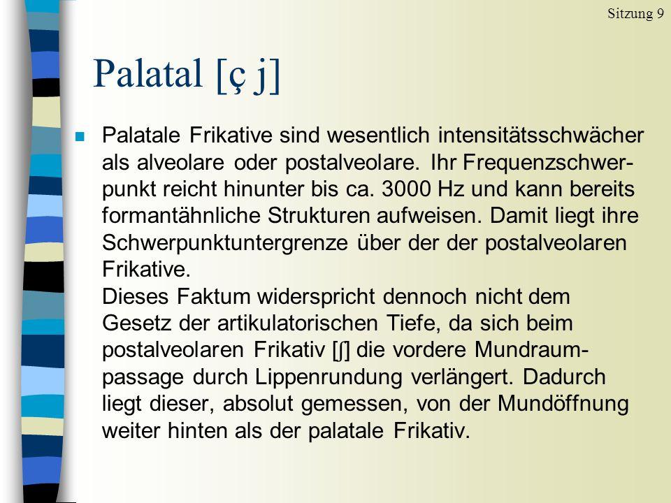 Palatale Frikative sind wesentlich intensitätsschwächer als alveolare oder postalveolare.