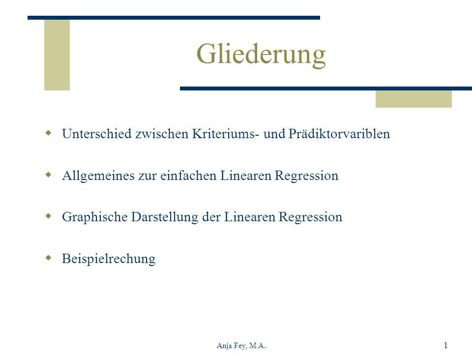 Anja Fey, M.A.1 Gliederung Unterschied zwischen Kriteriums- und Prädiktorvariblen Allgemeines zur einfachen Linearen Regression Graphische Darstellung