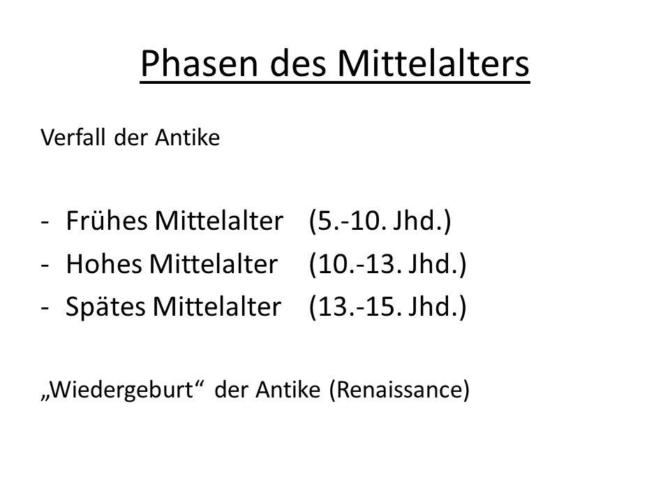 Phasen des Mittelalters Verfall der Antike -Frühes Mittelalter (5.-10. Jhd.) -Hohes Mittelalter (10.-13. Jhd.) -Spätes Mittelalter(13.-15. Jhd.) Wiede