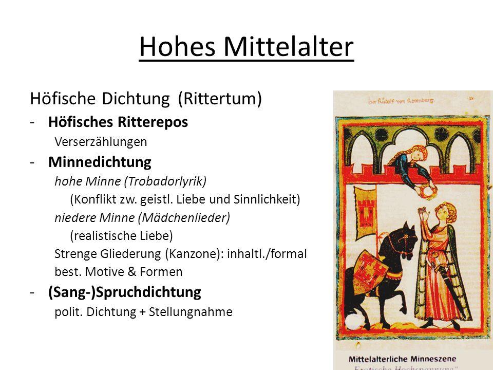 Hohes Mittelalter Höfische Dichtung(Rittertum) -Höfisches Ritterepos Verserzählungen -Minnedichtung hohe Minne (Trobadorlyrik) (Konflikt zw. geistl. L