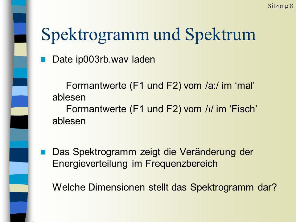 Spektrogramm und Spektrum Sitzung 8 n Date ip003rb.wav laden Formantwerte (F1 und F2) vom /a:/ im mal ablesen Formantwerte (F1 und F2) vom / ɪ / im Fi