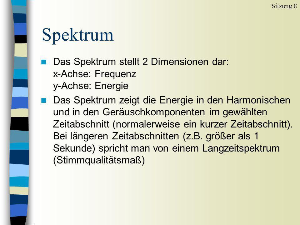 Spektrum Sitzung 8 n Das Spektrum stellt 2 Dimensionen dar: x-Achse: Frequenz y-Achse: Energie n Das Spektrum zeigt die Energie in den Harmonischen un