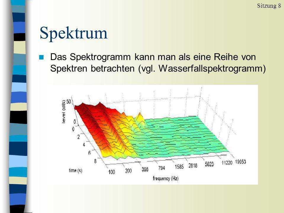Aufrufen des Spektrums Sitzung 8 (a) den Cursor in die Mitte des Lautes setzen Spectrum View spectral slice oder Strg+l (b) einen kleinen Ausschnitt in der Mitte des Lautes markieren weiter wie bei (a) (c) einen kleinen Ausschnitt in der Mitte des Lautes markieren File Extract selected sound im Praat Objects Fenster erscheint eine neue Datei namens sound untitled sound untitled markieren Spectrum To Spectrum… (Häkchen bei Fast, damit ein FFT gemacht wird) (d) Gelegentlich kann es einen Vorteil bringen, nach den Schritten in (c) noch eine Cepstral-Glättung anzuschließen: die Datei Spectrum untitled im Praat Objects Fenster auswählen Cepstral smoothing...
