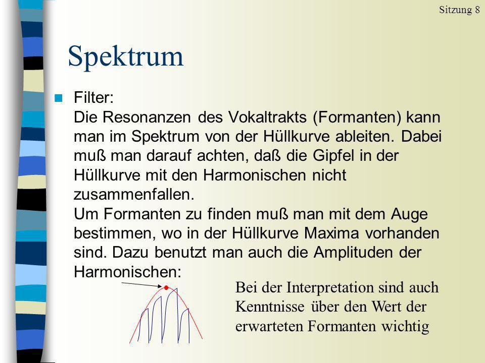 n Filter: Die Resonanzen des Vokaltrakts (Formanten) kann man im Spektrum von der Hüllkurve ableiten. Dabei muß man darauf achten, daß die Gipfel in d