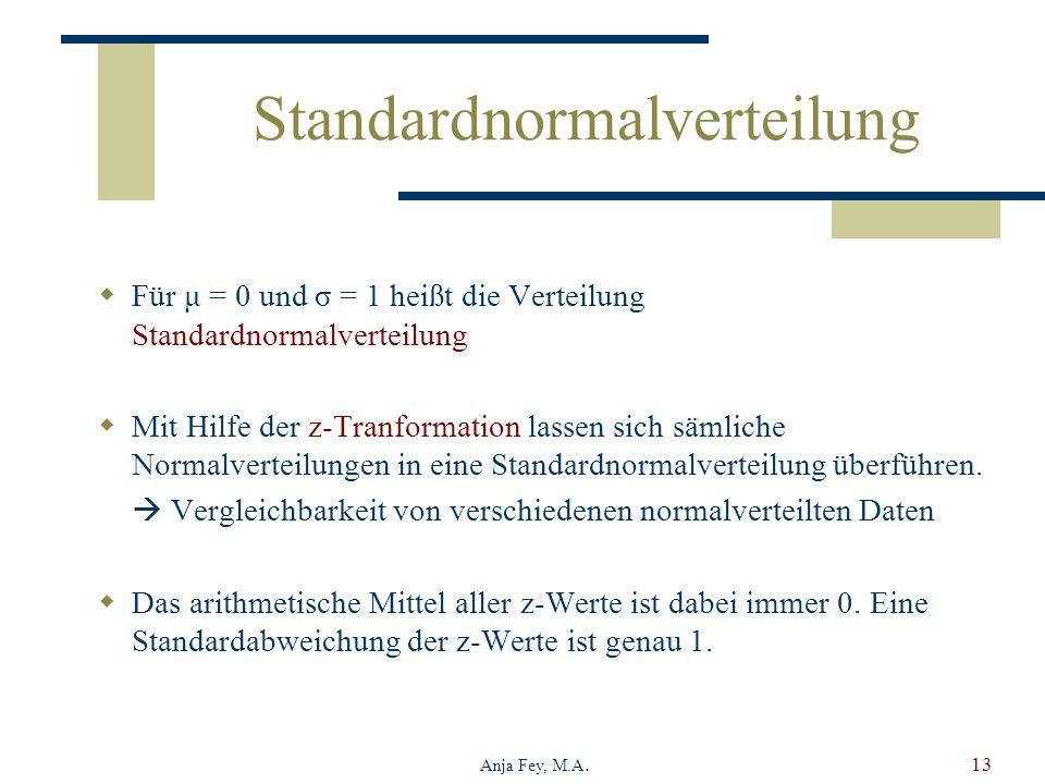 Anja Fey, M.A.13 Standardnormalverteilung Für μ = 0 und σ = 1 heißt die Verteilung Standardnormalverteilung Mit Hilfe der z-Tranformation lassen sich